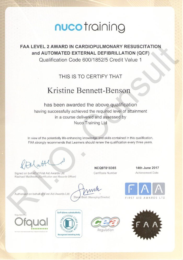 FAA Level 2 Award in Cardiopulmonary Resuscitation