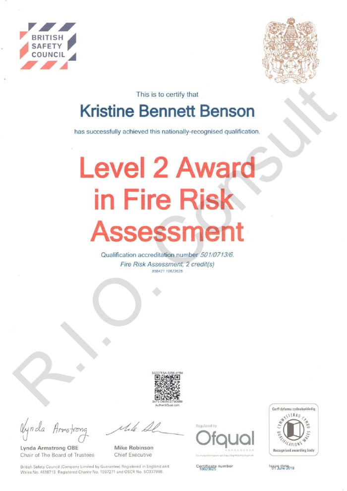 Level 2 award in fire risk assessment