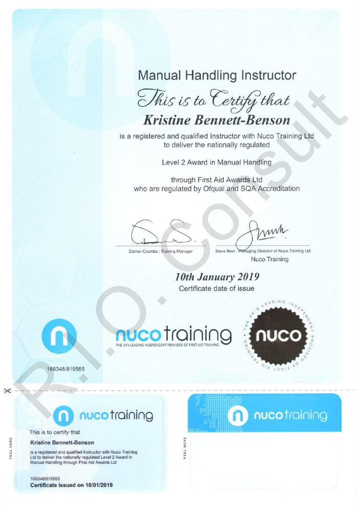 Level 2 award on manual handling