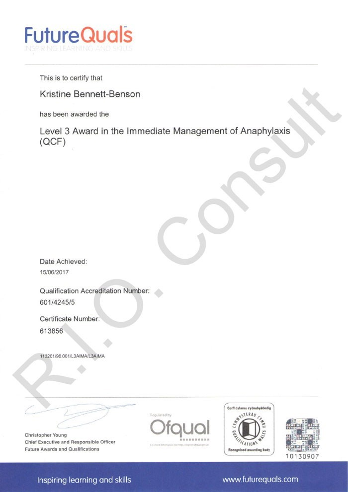 Level 3 award in the immediate management of anaphylaxis
